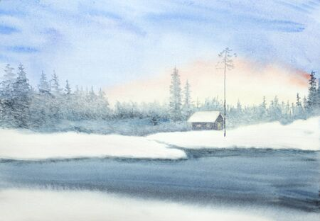 winter landscape with a hut and soft snow