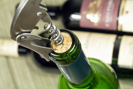 sommeliers: Bottles of wine and a corkscrew in traffic