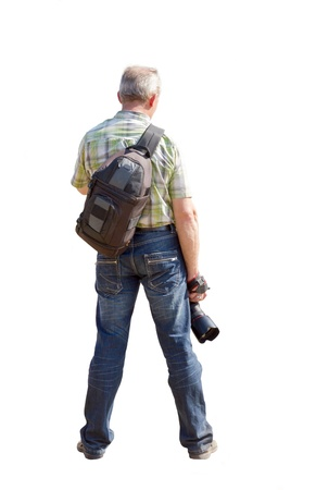 A man with a camera and backpack on a white background.
