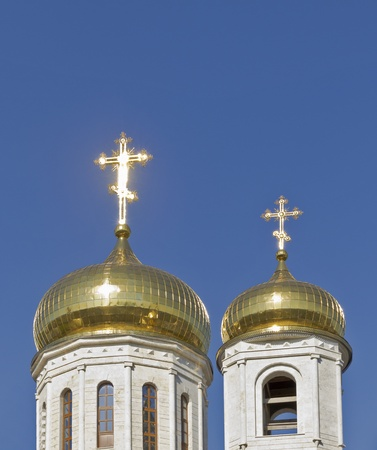 Dome of the Cathedral of Christ the Savior Cathedral in Pyatigorsk on a background of blue sky