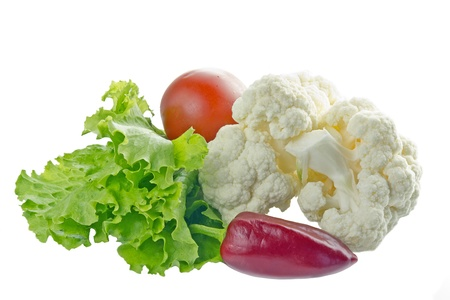 Peppers, lettuce, tomatoes and cauliflower on a white background  Stock Photo