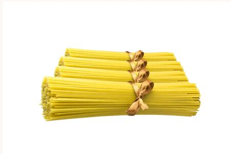 Bunch of spaghetti isolated on white background