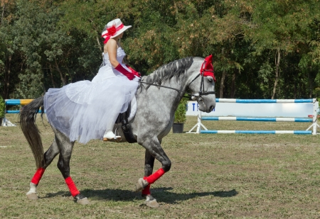 A woman in a white dress. In a hat and red gloves in the saddle on the horse. Stock Photo - 17877853