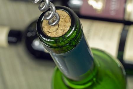 Wine Bottle closeup Stock Photo