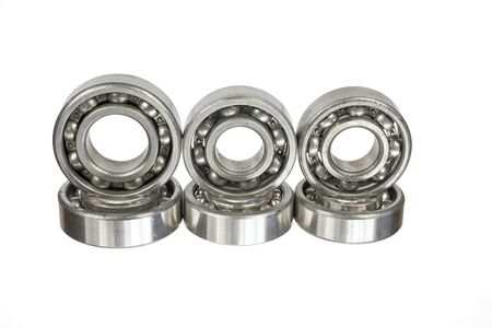 Ball bearings on a white background
