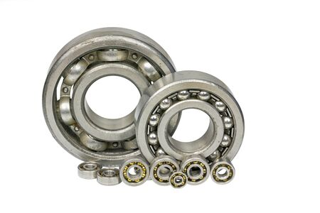 Bearings of different sizes  on a white background