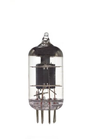 The old vacuum tube on a white background. photo