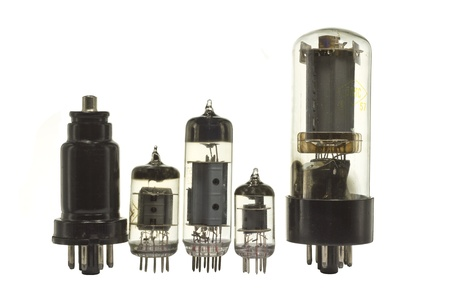 The old vacuum tubes on a white background. photo