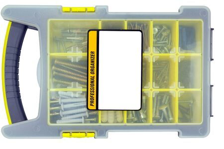 organizer with screws on a white background