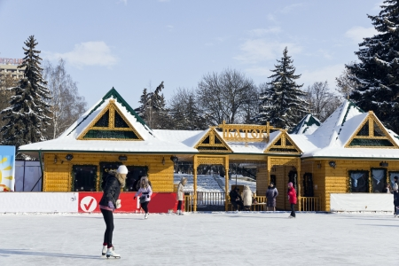 Open-air ice rink in Pyatigorsk.