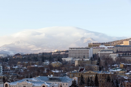 Pyatigorsk  City against the mountain Beshtau  Stock Photo