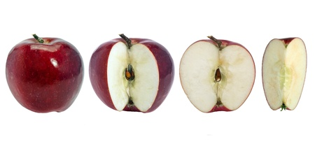 integer: Red apples. Integer and sliced on a white background.