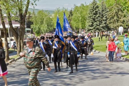 cossacks: The Cossacks of the Terek Cossack Army  At the parade May 9, 2013  Pyatigorsk  Editorial