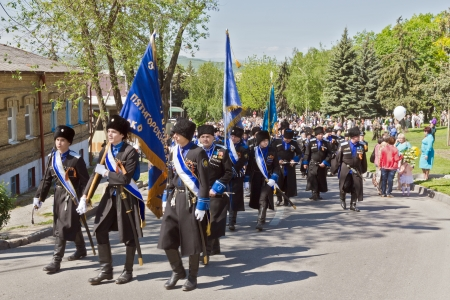 cossack parade: The Cossacks of the Terek Cossack Army  At the parade May 9, 2013  Pyatigorsk  Editorial