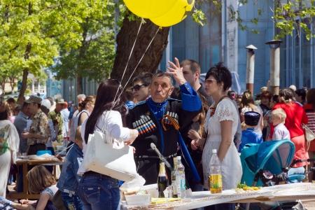 cossacks: Street festivities in the park  Flower Garden  in Pyatigorsk  May 9, 2013  Editorial