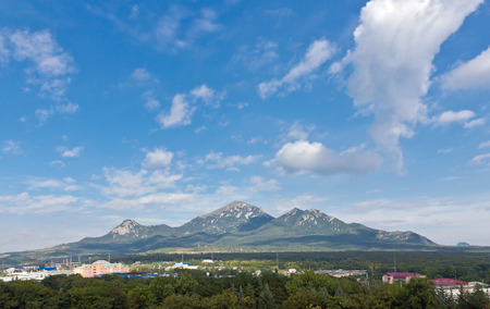 pyatigorsk: Mountain Beshtay against the blue sky  View from the side town of Pyatigorsk  Stock Photo