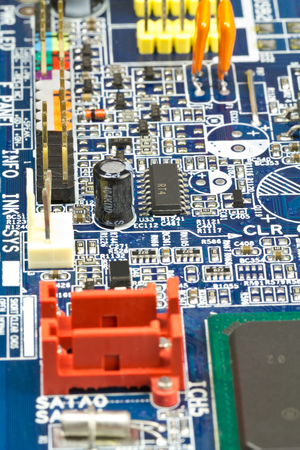 A large electronic card with the chips and other component