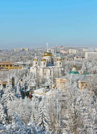 Snowy view of the historic center of Pyatigorsk and the Cathedral of Christ the Savior