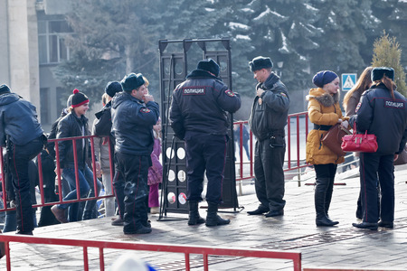 Russia, Pyatigorsk - January 23 - 2014: Police check people going to a public event.