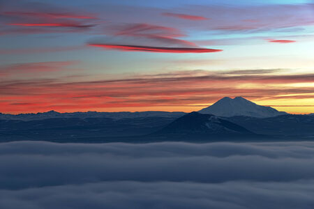 Evening view of the Caucasus mountain range and Mount Elbrus