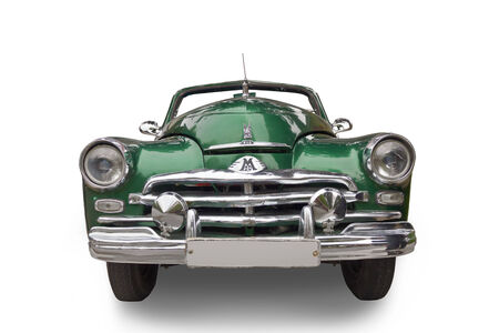Car M-20 Victory 1946—1958.  Green with a chrome bumper and the radiator grille details. Front view.
