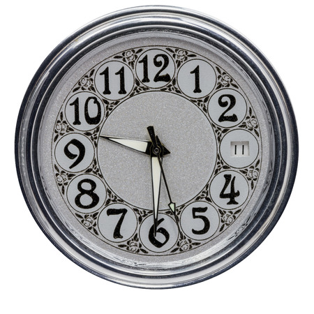 Clock dial old clock on a white background. Stock Photo