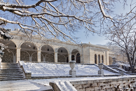 Pyatigorsk, Russia - January 9, 2014: A stone building Academic Gallery built in 1850 on the slope of Mount Mashuk. Architect Upton. Pyatigorsk winter. Editorial
