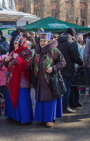 Pyatigorsk, Russia. March 22, 2015 : Maslenitsa. Elderly women in bright folk costumes at the city celebration. Pyatigorsk, maslenitsa.