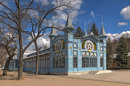 The building of glass and metal Lermontov Gallery in the park Flower Garden. Pyatigorsk.