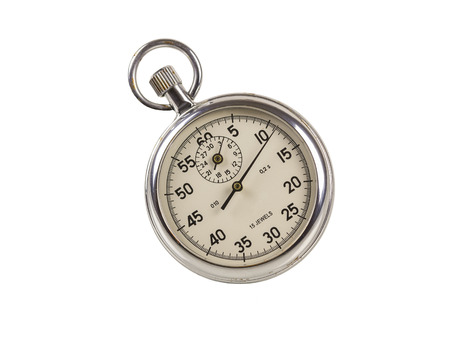 beat the clock: Old stopwatch in shiny metal casing.