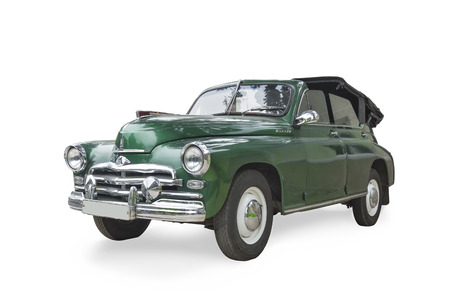 russian car: Pyatigorsk, Russia - May 9, 2015: The Russian car M -20 Victory 1946-1958 years of release. Convertible. Green color with the lifted folding roof. Stock Photo