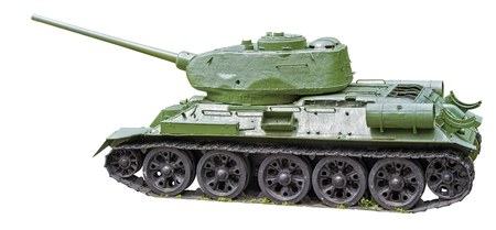 t34: Tank T-34 green color on a white background.