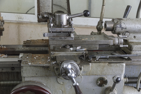 Metalworking machinery. Fragment of a lathe Stock Photo
