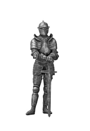 Knight in steel armor with a sword on a white background. Stock Photo