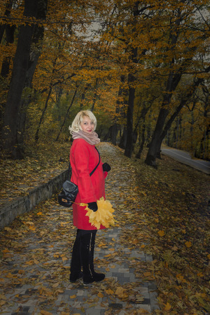 Beautiful blonde in red coat at the autumn park walkway. Stock Photo
