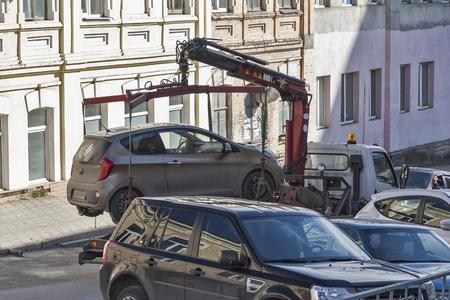evacuacion: Evacuación de un coche en un sistema de calles de la ciudad.