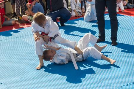 Pyatigorsk, Russia -June 12.2016: Demonstration performances on judo at the city celebration in Pyatigorsk among boys 6-10 years old.
