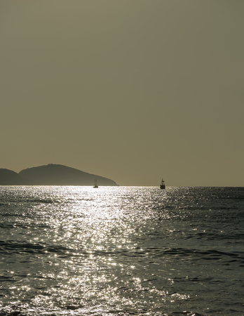 Seascape. Ships and seagull flying on the background of the sea and hills in the background.