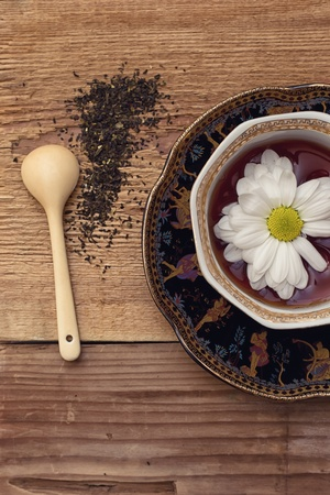 Herbal tea from the colors of chamomile photo