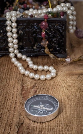 Compass with pearls