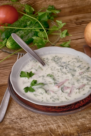 Seasonal chilled soup from vegetables