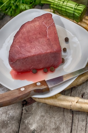 Meat a beef is fresh with blood Stock Photo