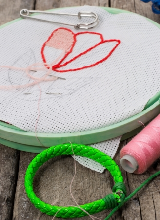weaving and embroidering