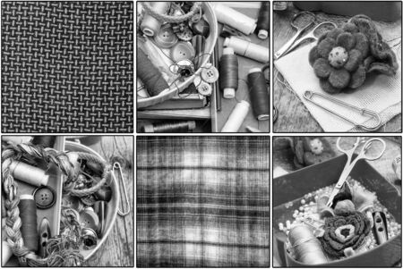 weavers: collage with legacy tools weavers Stock Photo