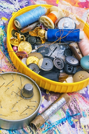 skillfully: working tool of seamstress for sewing