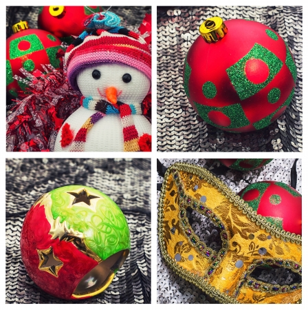 holiday collage with Christmas trinkets and jewelry photo