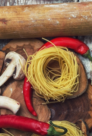 sculpt: art of home cooking with delicious Italian pasta Stock Photo