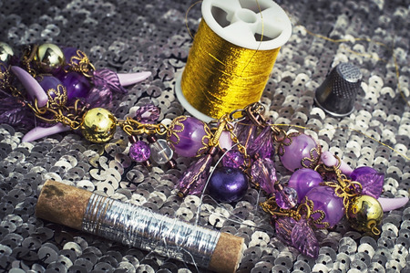 skillfully: working tool of seamstress for sewing and needlework Stock Photo