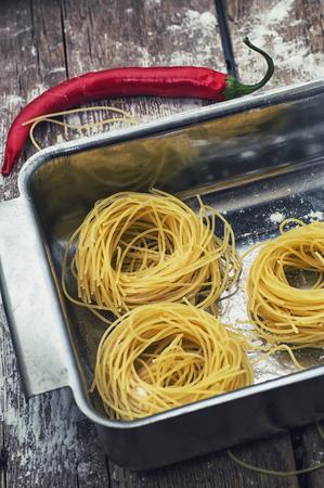 prefabricated: prefabricated tagliatelle pasta