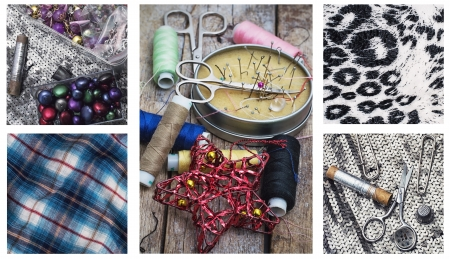 skillfully: collage with sewing supplies and samples of fabric